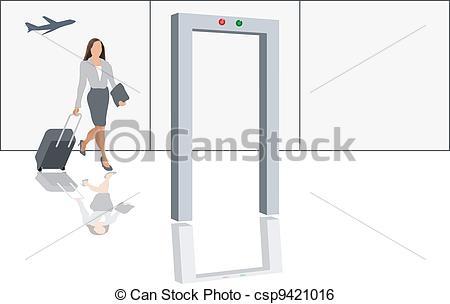 Plane gates clipart jpg transparent Clip Art Vector of Airport security check - Modern female traveler ... jpg transparent