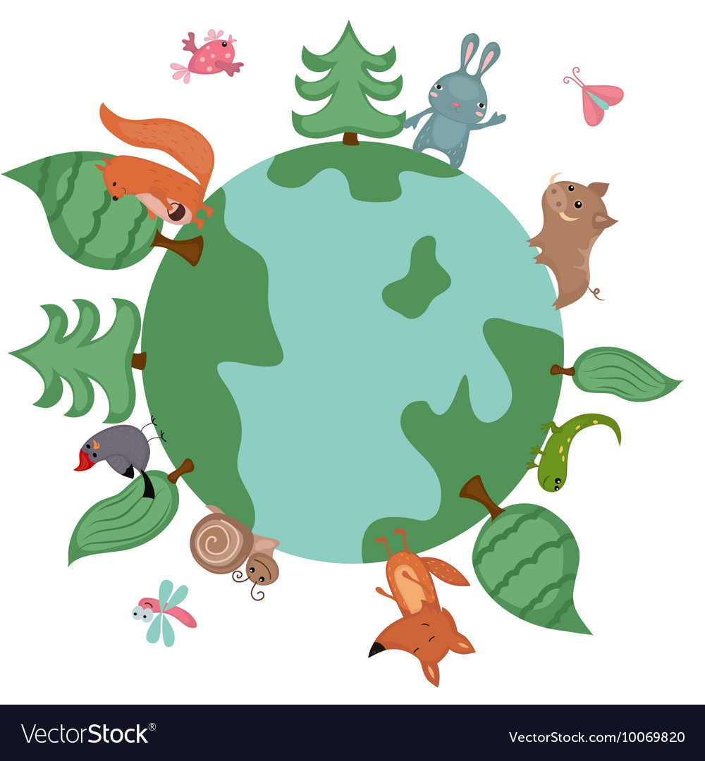 Plant and an animal next to each other clipart svg black and white stock Globe with wild animals and plants svg black and white stock