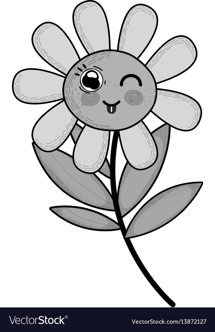 Plant grayscale clipart banner library Grayscale kawaii funny flower plant with tongue banner library