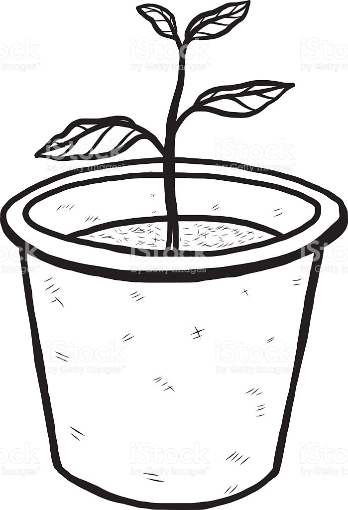 Plant in a pot clipart black and white graphic free stock Plant Clipart Black And White   Free download best Plant ... graphic free stock