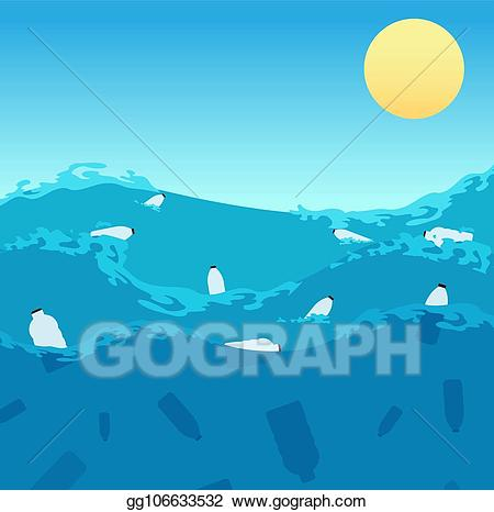 Plastic pollution clipart vector freeuse download Vector Illustration - Ocean plastic pollution. polluted sea ... vector freeuse download