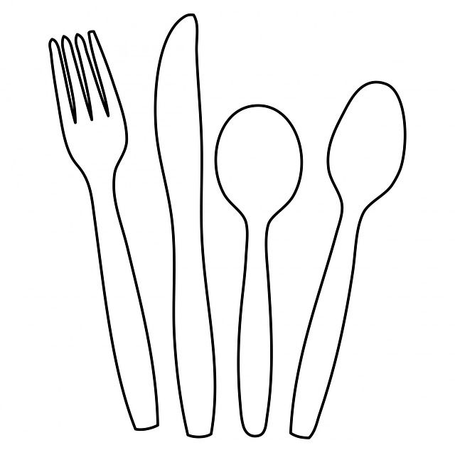Plastic utensils clipart graphic freeuse cutlery, knife, fork, spoon, outline, shape, clipart ... graphic freeuse