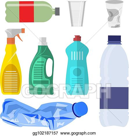 Plastoc clipart clip freeuse stock Vector Stock - Plastic waste collection on white. Clipart ... clip freeuse stock