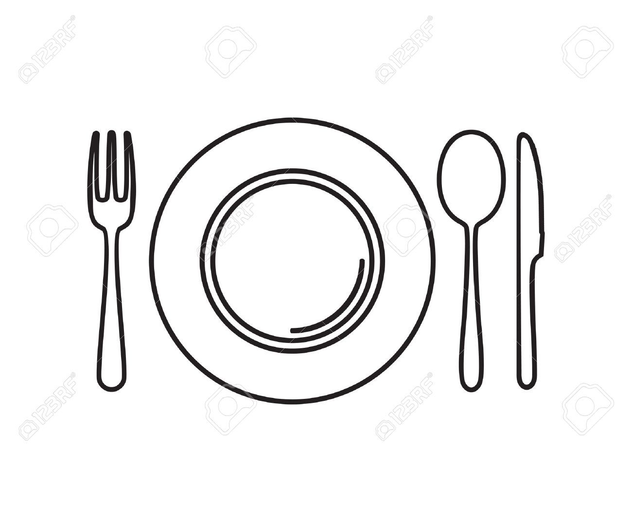 Plate and silverware clipart clipart freeuse Plate and silverware clipart 4 » Clipart Portal clipart freeuse