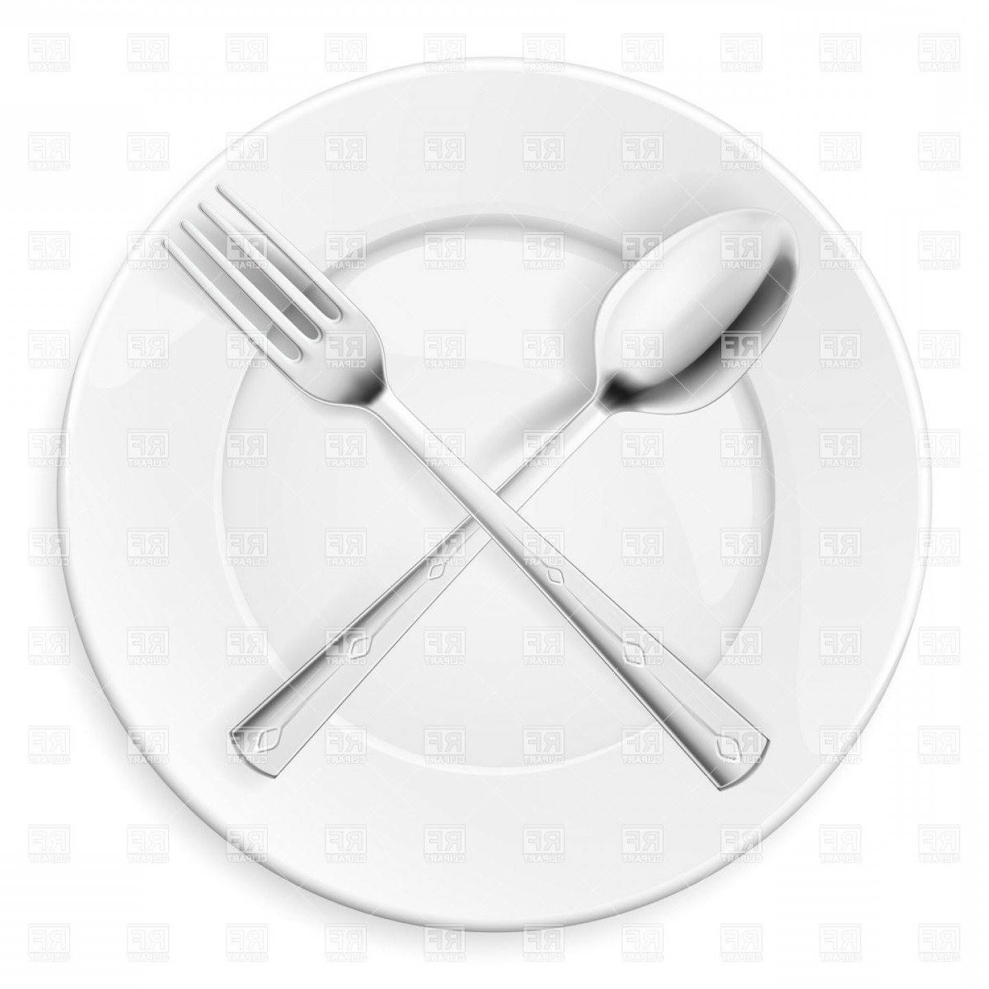 Plate and silverware clipart banner black and white Crossed Spoon And Fork Over Plate Vector Clipart   SOIDERGI banner black and white