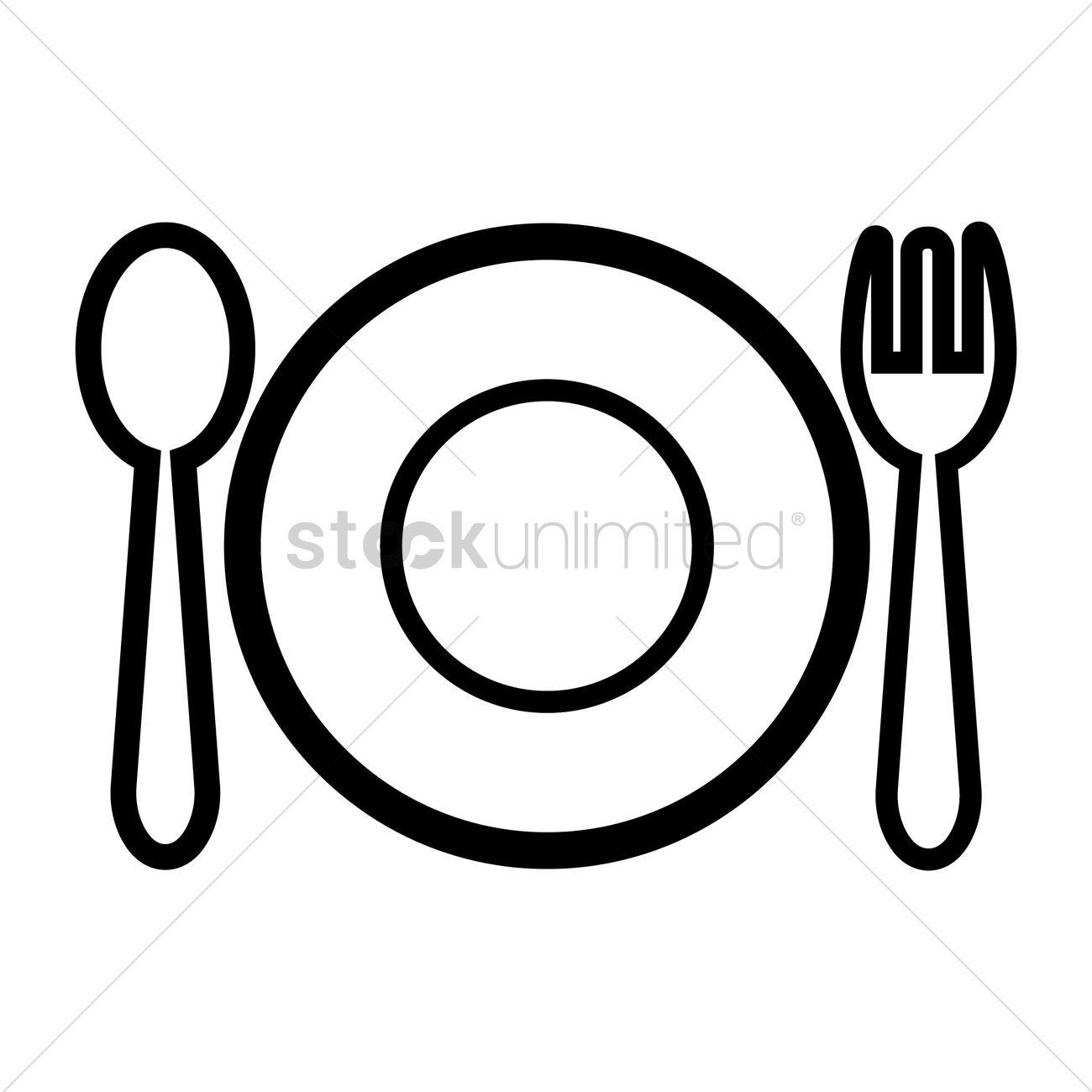 Plate knife and fork clipart png royalty free library Plate with fork and knife Vector Image - 2017002 ... png royalty free library