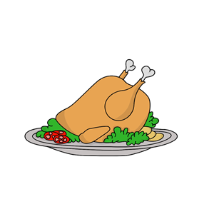 Platter clipart vector black and white download Oven-Roasted Turkey On A Platter clipart, cliparts of Oven ... vector black and white download
