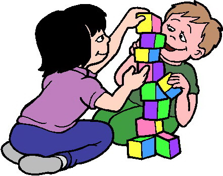 Play clipart free vector black and white Kids playing blocks clipart free images 3 - ClipartAndScrap vector black and white