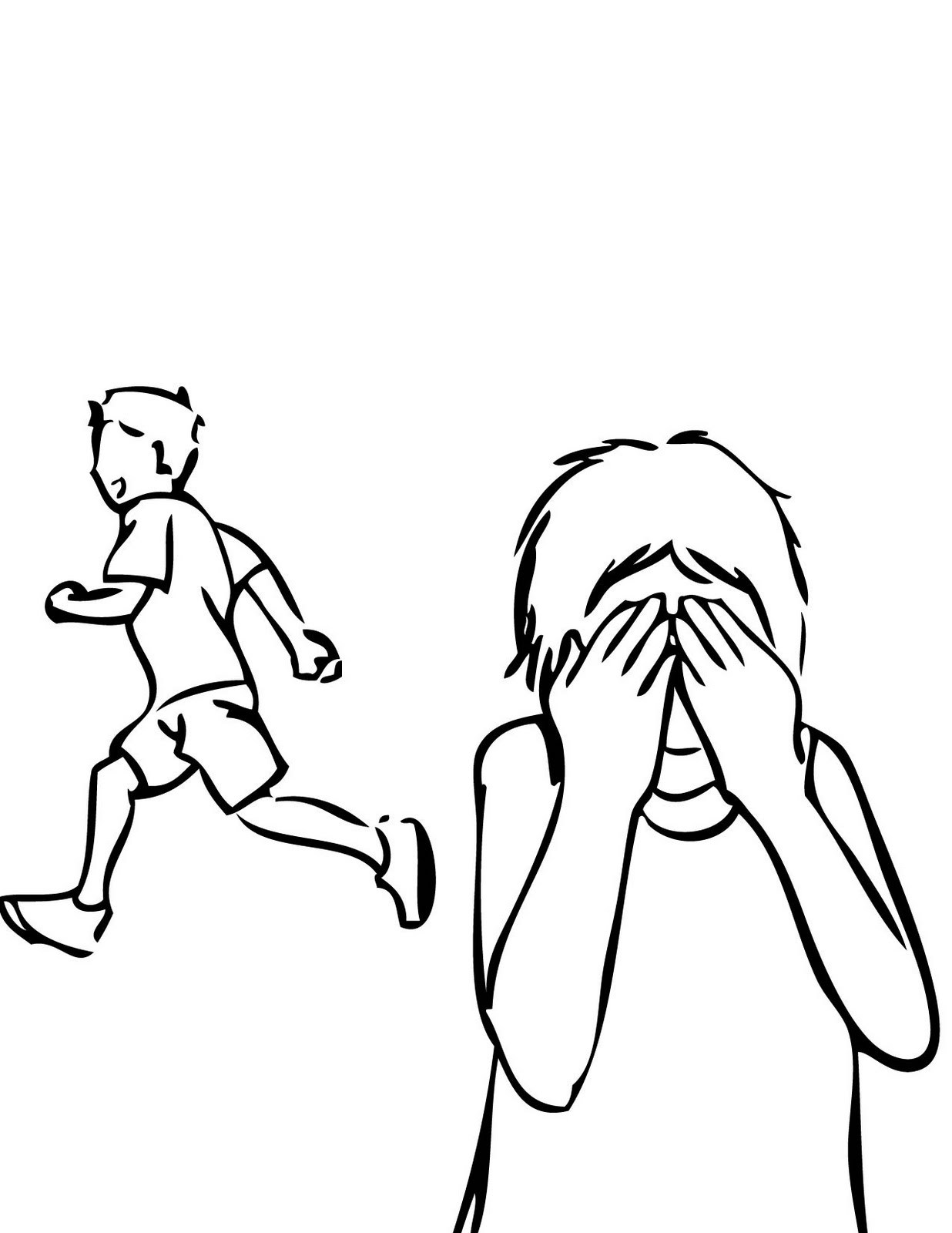 Play hide and seek clipart black and white