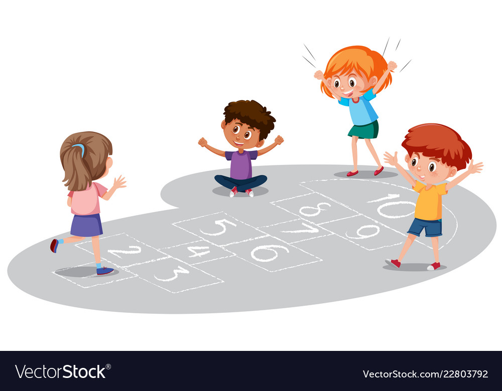 Play hopscotch clipart clipart library Children playing hopscotch game clipart library