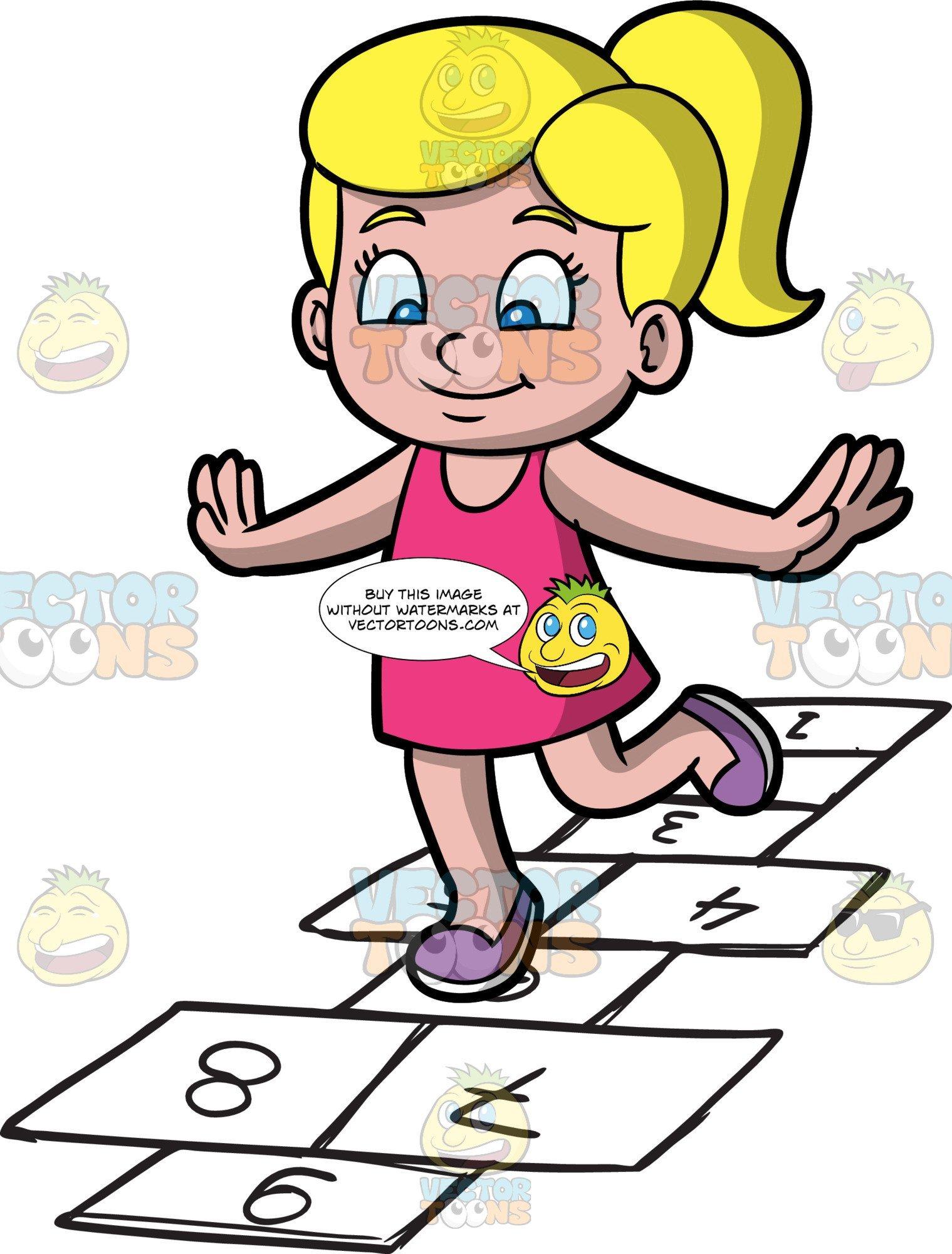 Play hopscotch clipart banner free A Cute Girl Playing Hopscotch banner free
