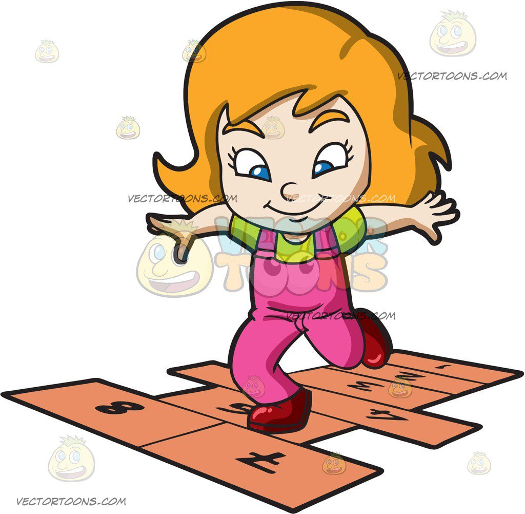 Play hopscotch clipart vector download A Young Girl Playing Hopscotch vector download