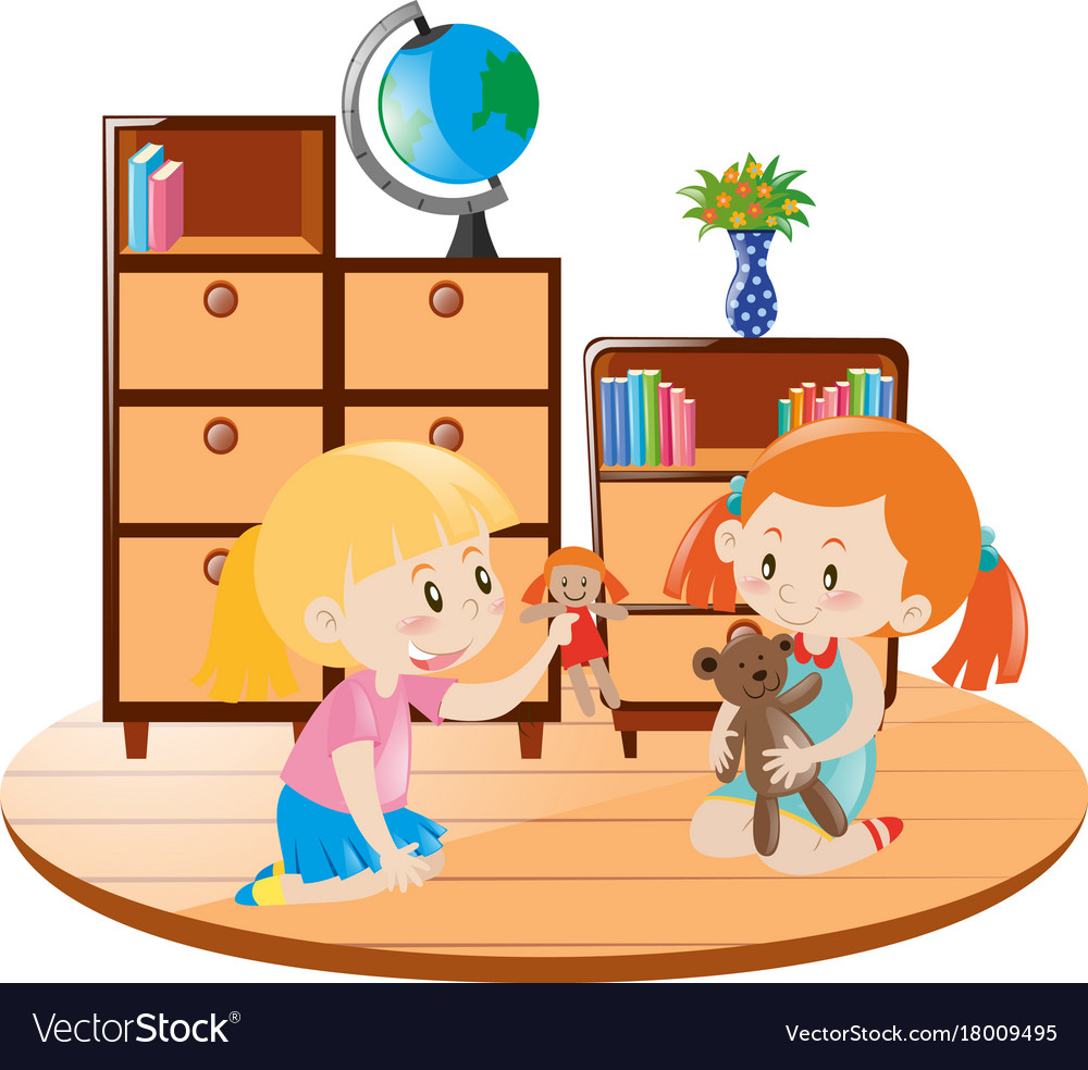 Play with dolls clipart picture black and white Two girls playing dolls in the room picture black and white