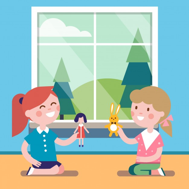 Play with dolls clipart banner transparent library Two friends playing with toy dolls together Vector | Free ... banner transparent library