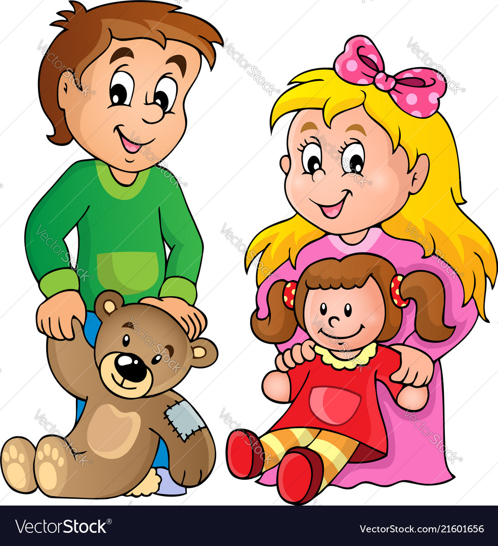 Play with dolls clipart png royalty free library Children with toys theme image 1 vector image png royalty free library