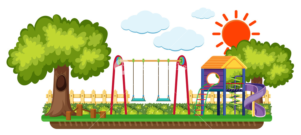 Playground clipart background png library stock Background scene with playground in the sun Royalty-Free ... png library stock