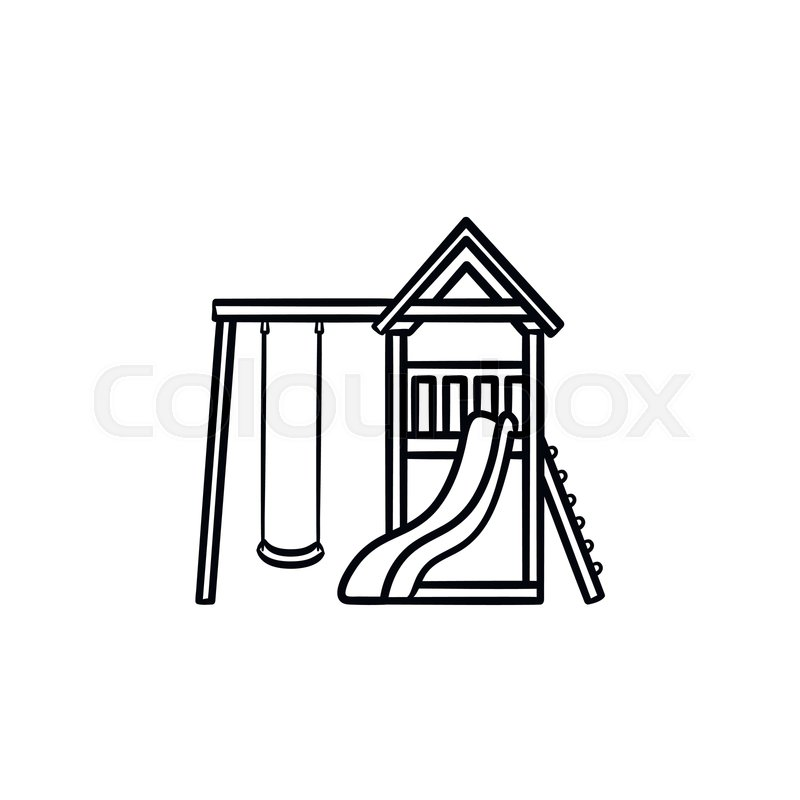 Playground clipart slide swing merry go round site stockphoto clip transparent stock Outdoor playground hand drawn outline ... | Stock vector ... clip transparent stock