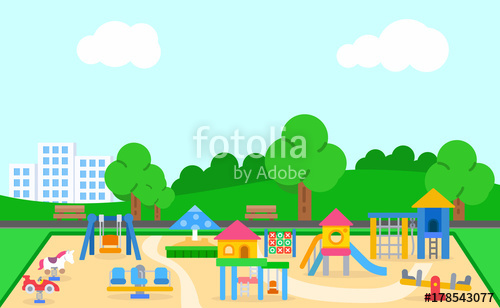 Playground clipart slide swing merry go round site stockphoto svg transparent stock Childrens playground vector illustration. Landscape of the ... svg transparent stock