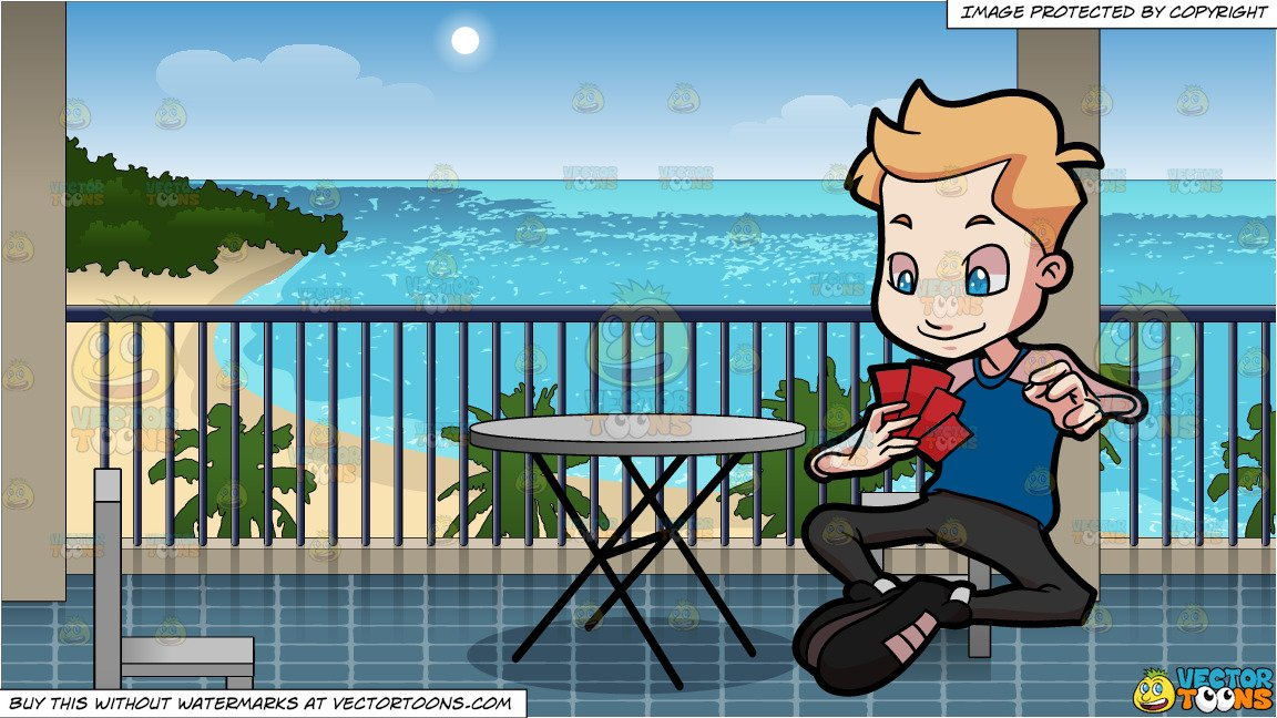 Playing cards at the beach clipart png transparent library A Preadolescent Boy Playing Cards and A Hotel Balcony Overlooking The Beach  Background png transparent library