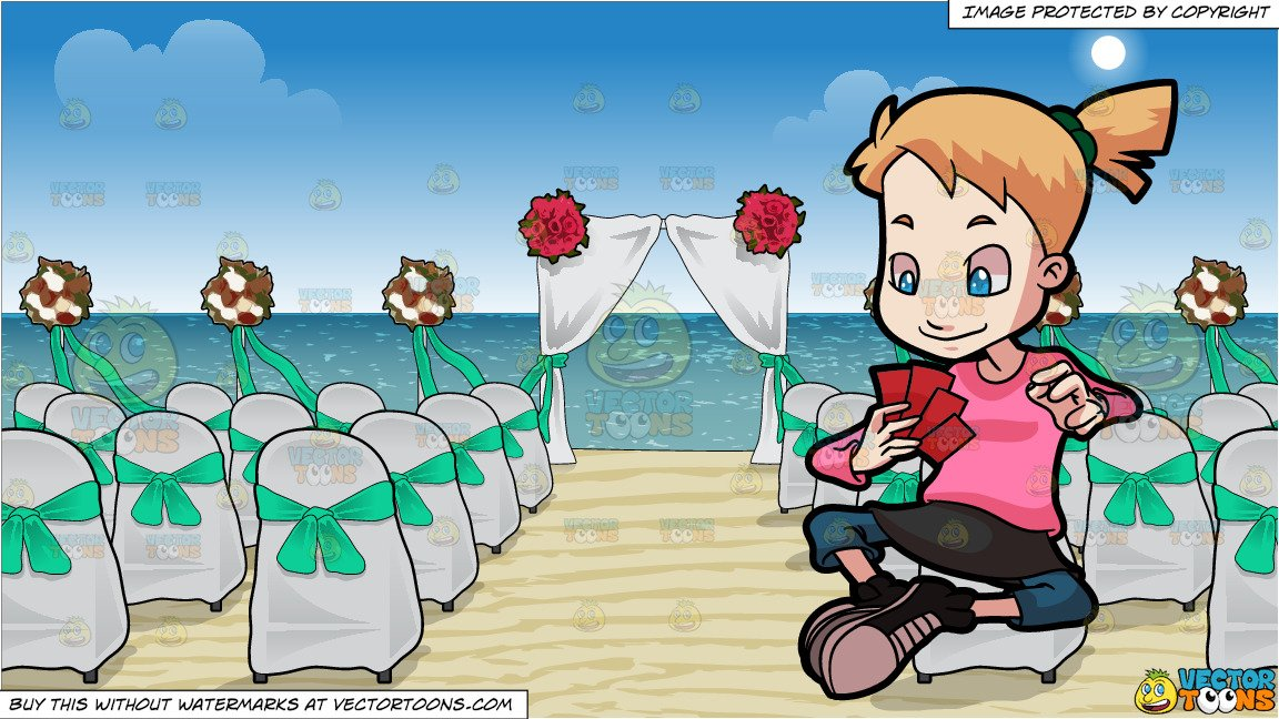 Playing cards at the beach clipart picture free download A Preadolescent Female Playing Cards and Chairs And A Canopy Set Up For A  Beach Wedding Background picture free download