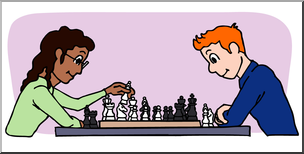 Playing chess clipart picture royalty free stock Clip Art: Kids: Playing Chess Color I abcteach.com   abcteach picture royalty free stock