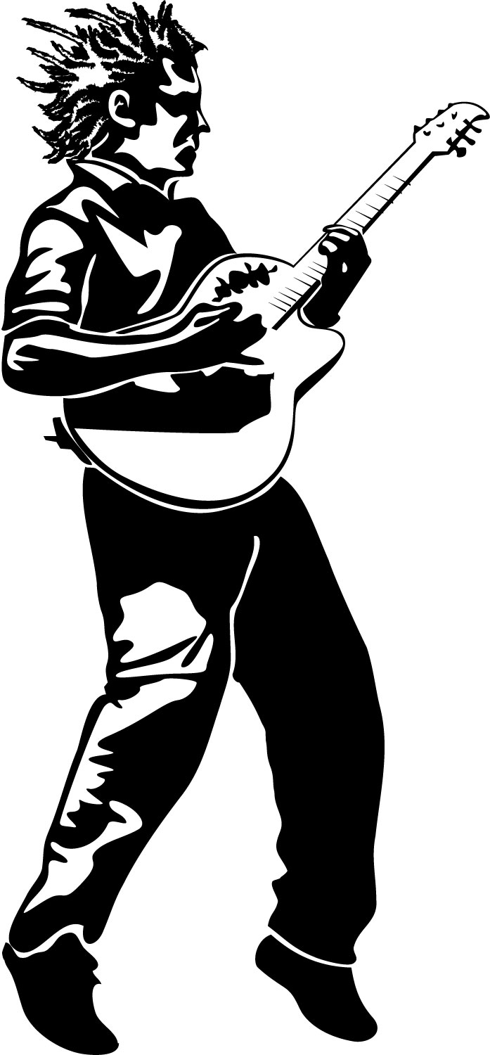 Playing guitar clipart black and white vector library Free Free Guitar Clipart, Download Free Clip Art, Free Clip ... vector library