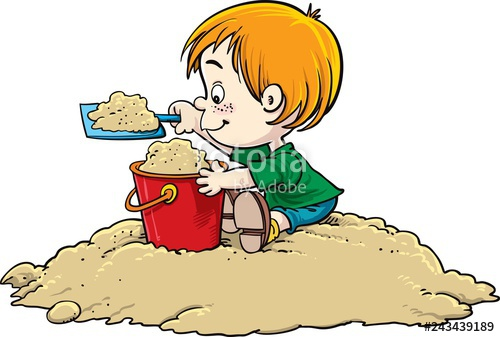Playing in the sand clipart picture black and white stock Child playing in the sand\