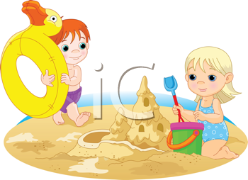 Playing in the sand clipart picture black and white library Royalty Free Clipart Image of a Little Girl and Boy Playing ... picture black and white library