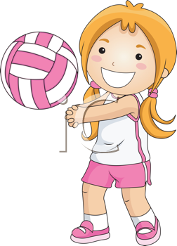 Playing volleyball clipart clipart royalty free download iCLIPART - Royalty Free Clipart Image of a Little Girl ... clipart royalty free download