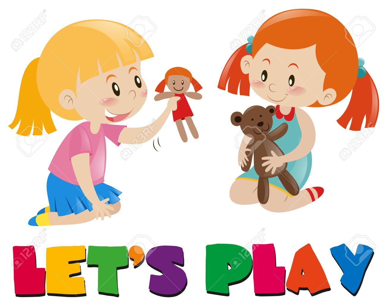 Playing with dolls clipart banner royalty free download Two girls playing with dolls » Clipart Station banner royalty free download