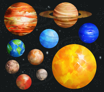 Plnets clipart svg free library Watercolor Planets Clipart svg free library