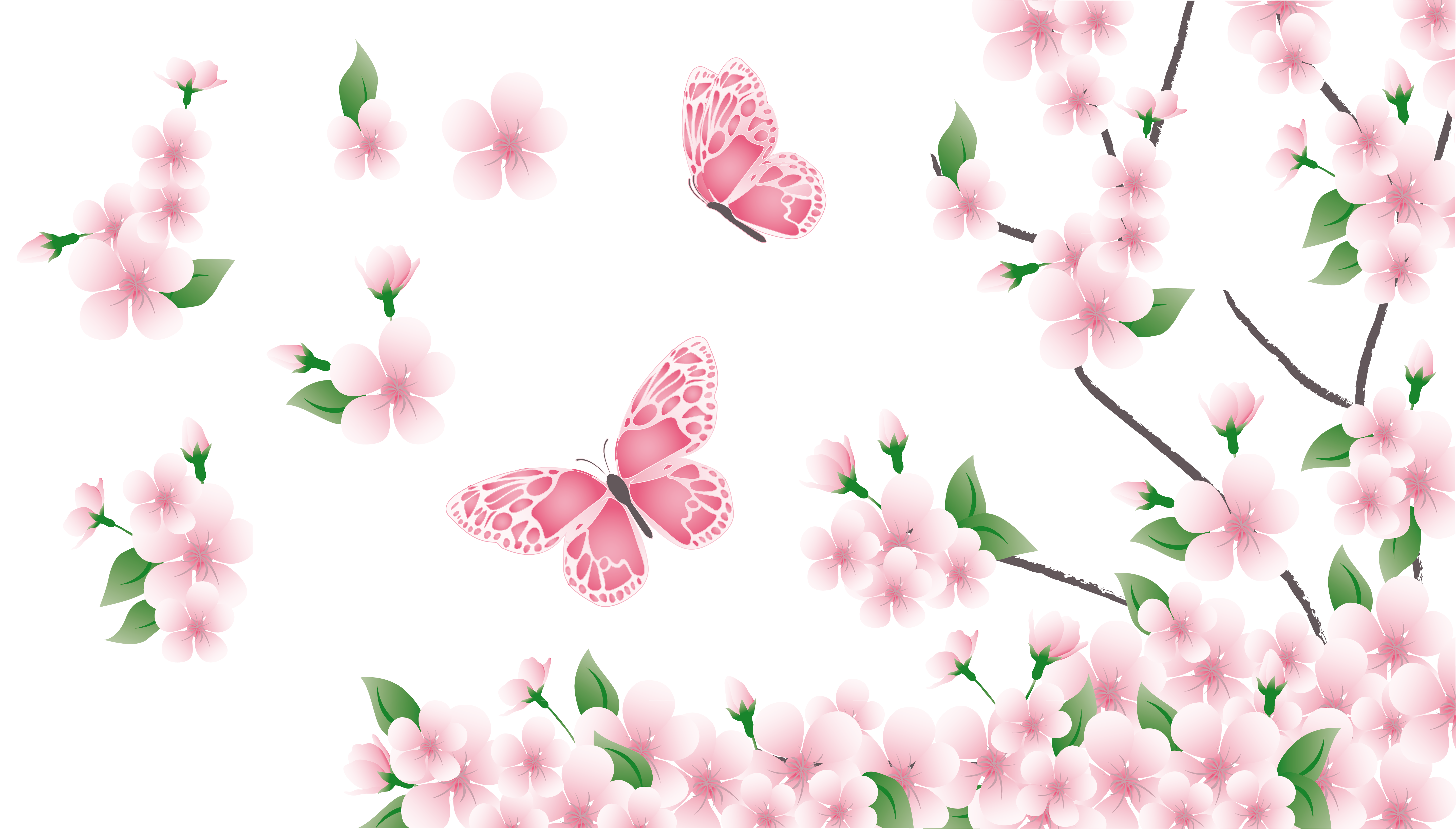 Rustic flower clipart jpg freeuse Spring Branch with Pink Flowers and Butterflies PNG Clipart ... jpg freeuse