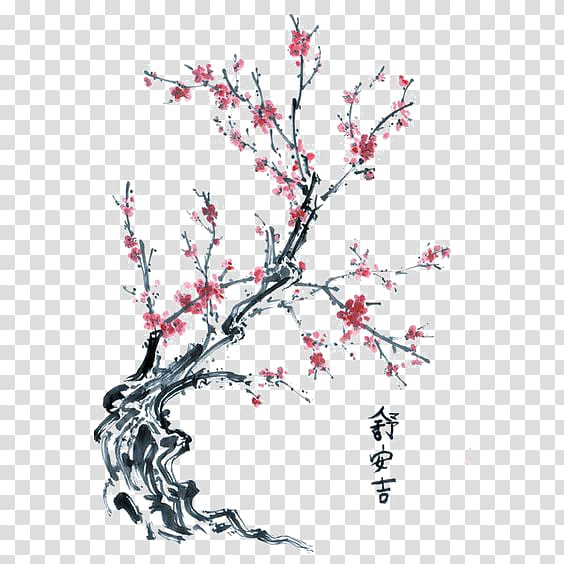 Plum tree clipart svg free download Pink petaled flowers illustration, Drawing Cherry blossom ... svg free download