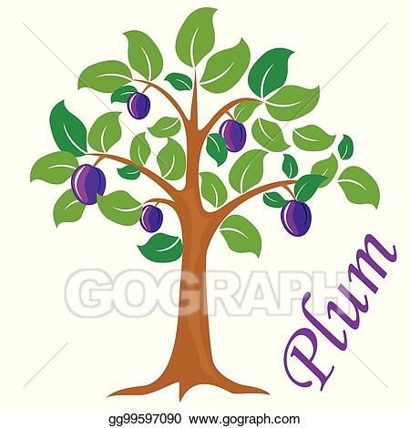 Plum tree clipart royalty free stock Vector Art - Plum tree vector illustration. plum fruit ... royalty free stock
