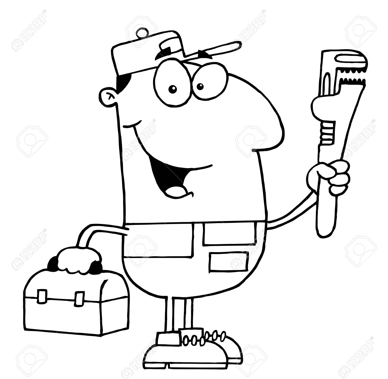 Plumbing cartoon clipart royalty free library Clipart Illustration Of An Outlined Plumber Royalty Free Cliparts ... royalty free library