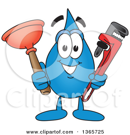 Plumbing cartoon clipart svg library stock Clipart of a Water Drop Mascot Cartoon Character Holding a ... svg library stock