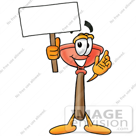 Plumbing cartoon clipart picture library Clip Art Graphic of a Plumbing Toilet or Sink Plunger Cartoon ... picture library