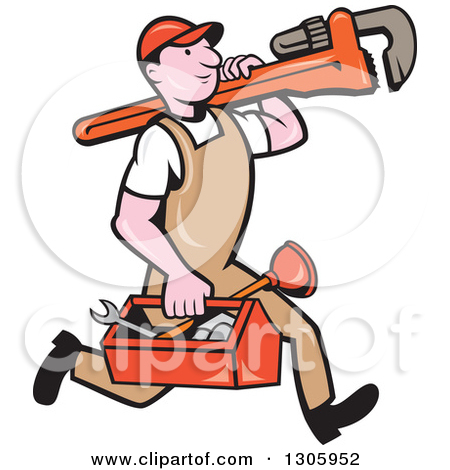 Plumbing cartoon clipart vector black and white Royalty-Free (RF) Plumber Clipart, Illustrations, Vector Graphics #1 vector black and white