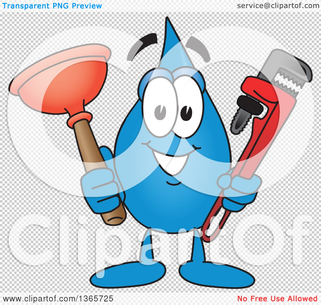 Plumbing character clipart clipart freeuse stock Clipart of a Water Drop Mascot Cartoon Character Holding a ... clipart freeuse stock