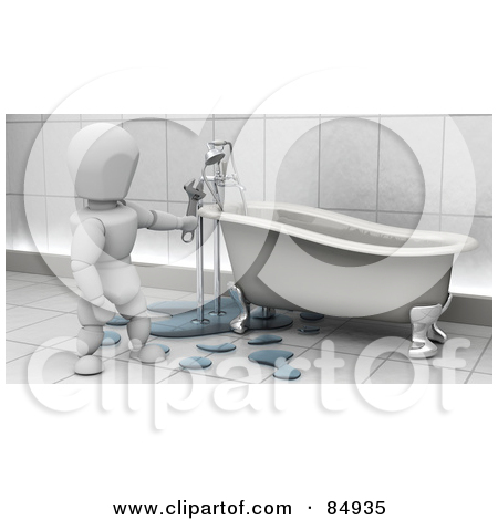 Plumbing character clipart jpg royalty free download Royalty-Free (RF) Clipart Illustration of a 3d White Character ... jpg royalty free download