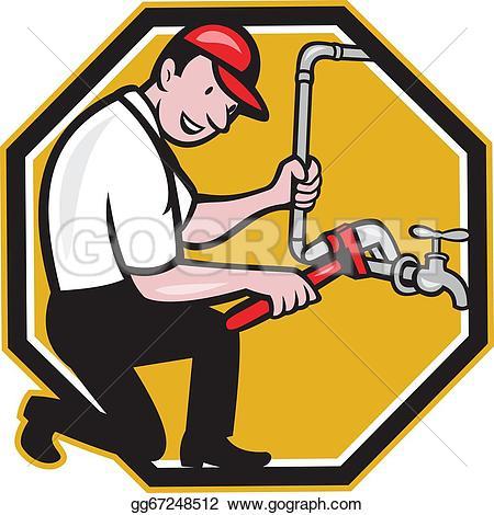 Plumbing clipart jpg black and white Plumber Clip Art - Royalty Free - GoGraph jpg black and white