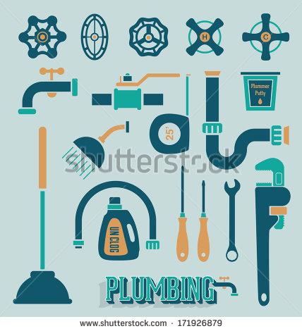Plumbing logo clipart banner download Vector Set Retro Plumbing Icons Symbols Stock Vector 171926879 ... banner download