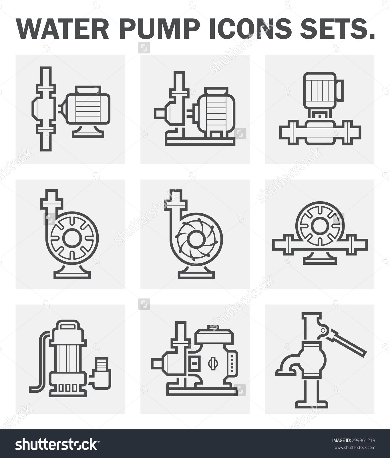 Plumbing pump icon clipart jpg free Vector Icon Electric Water Pump Steel Stock Vector 299961218 ... jpg free