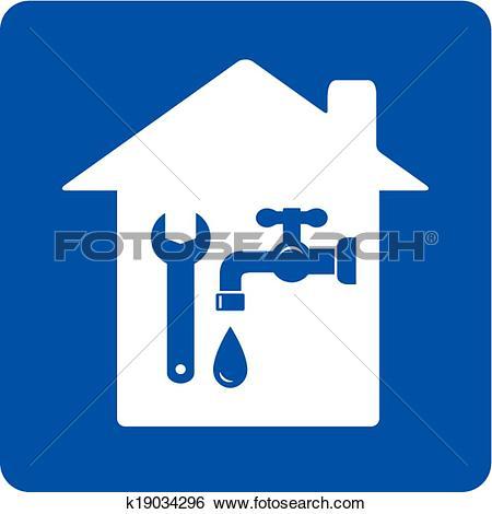 Plumbing symbols clipart clip art transparent Clip Art of blue plumbing symbol with house k19034296 - Search ... clip art transparent