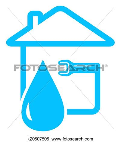 Plumbing symbols clipart svg black and white Clipart of plumbing icon with drop of water and spanner k20507505 ... svg black and white