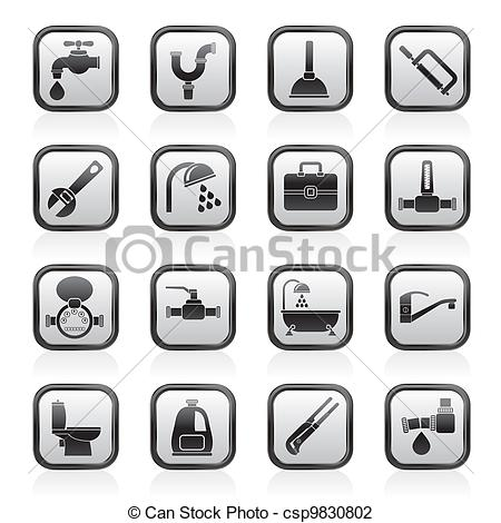 Plumbing tools clipart freeuse download Vector Illustration of plumbing objects and tools icons - vector ... freeuse download