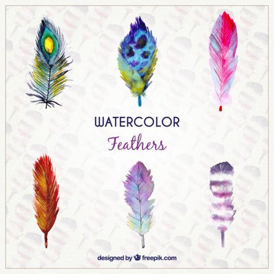 Plume clipart gratuit clip download Plumes d'aquarelle dans un style coloré | Graphics, Free vector ... clip download