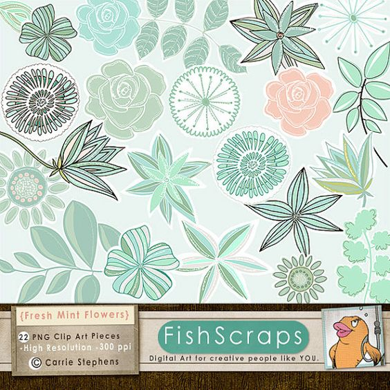 Png clipart mint green svg freeuse library Mint Green Flower Clip Art, Aqua, Teal & Peach, Modern Floral Rose ... svg freeuse library