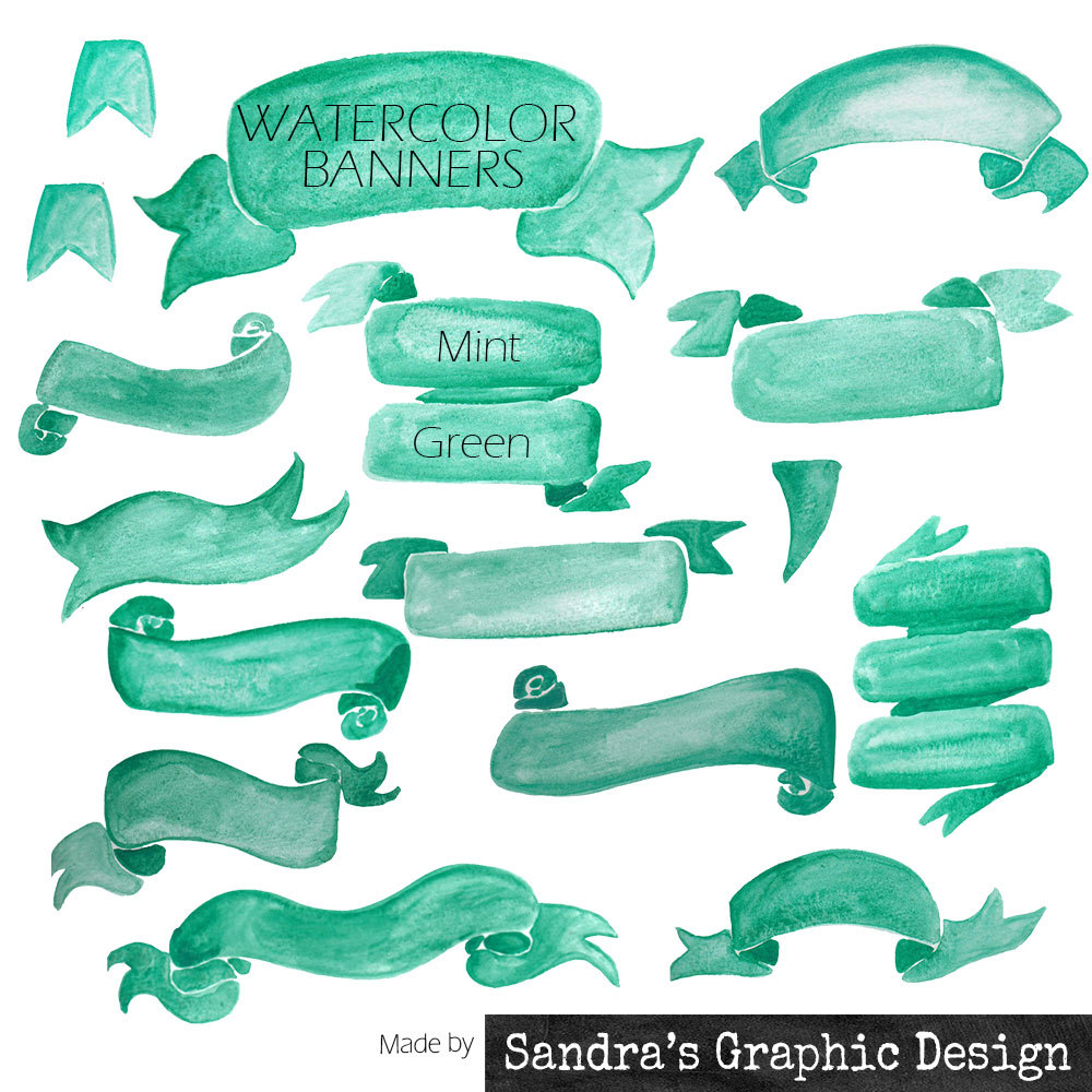"Png clipart mint green jpg free download Banners clipart: ""HANDPAINTED BANNERS"" with 16 mint green ... jpg free download"