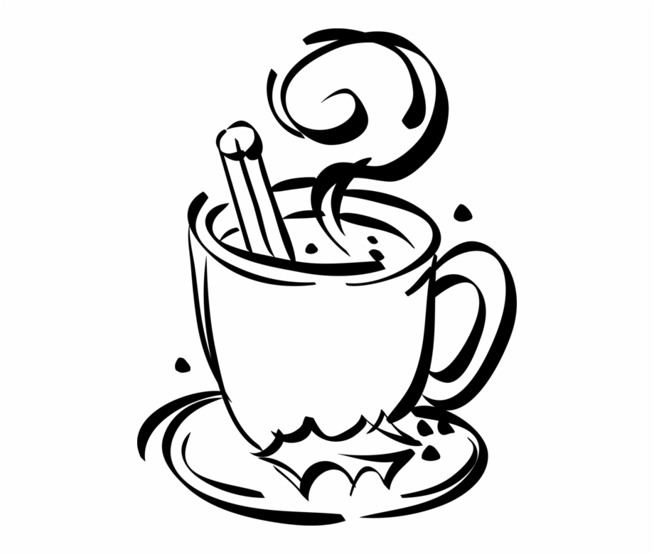 Png hot chocolate clipart black and white svg royalty free download Vector Illustration Of Cup Of Hot Chocolate With Christmas ... svg royalty free download